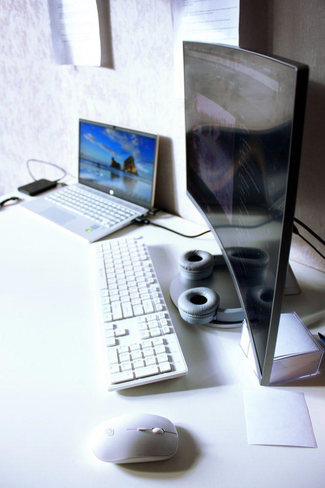 computer angle on desk